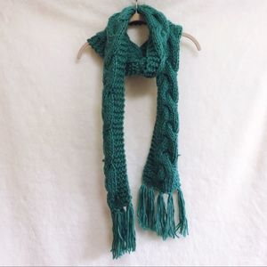Forever 21 Teal Knitted Long Tassel Scarf